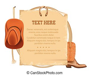 western cowboy hat and american lasso.Vector old paper for...