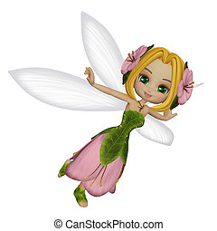 Cute little fairy - 3d illustration isolated on the white...