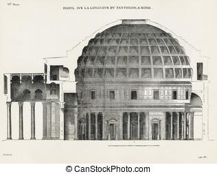 Pantheon in Rome VI - Profil sur la longueur du Pantheon, a...