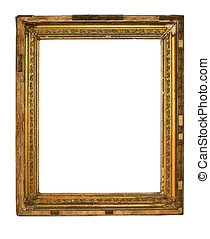 Very Old Frame - Gold Frame on White Background