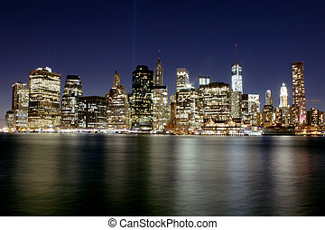 Twilight as the sun sets over Lower Manhattan Famous New...