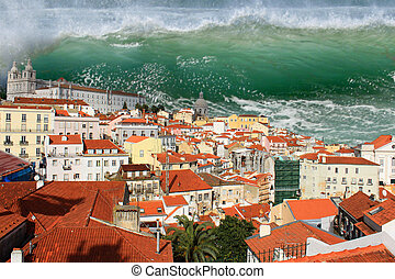 Tsunami in Lisbon - Giant tidal wave or tsunami about to...