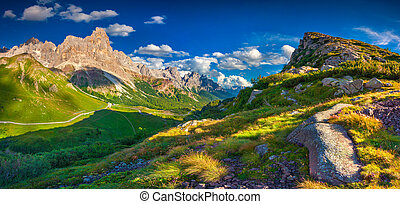 Panoramic views of the Pale di San Martino from Passo Rolle,...