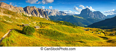 Panorama of the Sassolungo (Langkofel) and Sella group,...