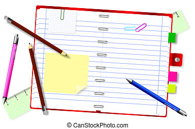 Notepad with pencils and pens - Background with notepad with...