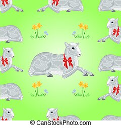 Easter lamb and daffodil seamless texture Easter background...