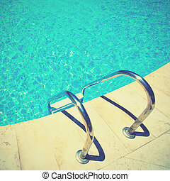 Swimming pool Retro style filtred image