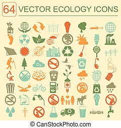 Environment, ecology icon set