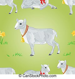 Easter lamb and daffodil seamless texture vector...