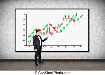 stock chart - businessman with a pointer points to a stock...
