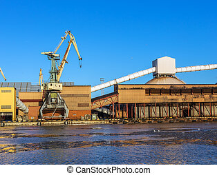 fragment cargo berth in the Baltic Sea, Ventspils, Latvia,...
