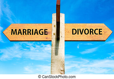 Marriage versus Divorce messages, Divorce concept - Wooden...