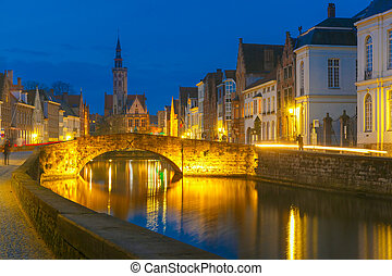 Night Canal Spiegel in Bruges, Belgium - Scenic night...