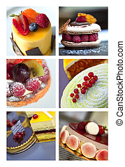 Pastries - Cakes and pastries on a collage