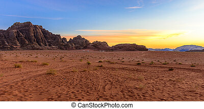Sunset in Wadi Rum desert, Jordan - Panorama of a Sunset in...