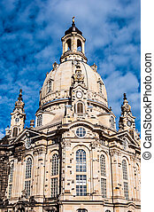 Dresden Frauenkirche - view of the famous Frauenkirche in...