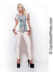 fashion blonde girl, high key scene - attractive fashion...