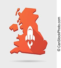 UK map icon with a rocket