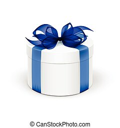 White Round Gift Box with Blue Ribbon and Bow Isolated on Background