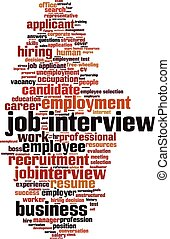 Job interview word cloud concept Vector illustration
