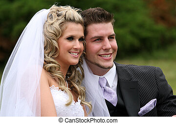 Bride and Groom - A young attractive couple on their wedding...
