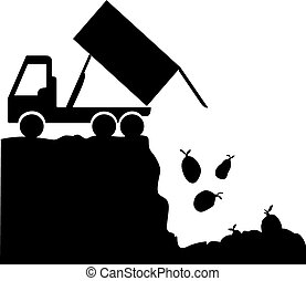 Rubbish Disposal Site - A silhouette of a garbage truck...