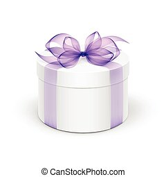 White Round Gift Box with Light Purple Violet Lavander...