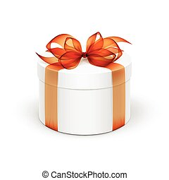 White Round Gift Box with Orange Ribbon and Bow Isolated on...
