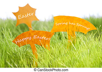 Three Labels With Happy Easter On Green Grass - Three Labels...
