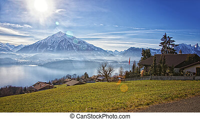 Beautiful view near Thun lake in Swiss Alps - View near Thun...