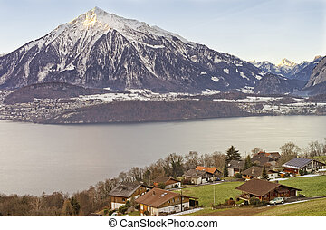 Lakeview over Swiss Apls mountains in a Swiss village near...