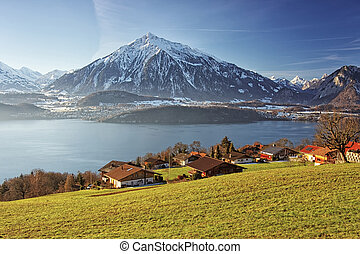 Panoramic lakeview in Swiss mountains near the Thun lake in...
