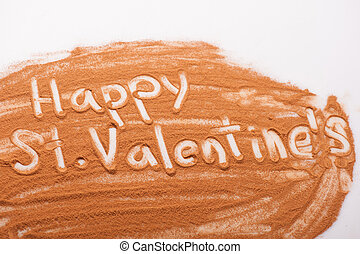 Romantic message written with chocolate powder - Romantic...