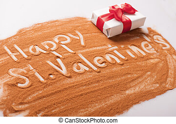 Romantic message written with chocolate powder - Lovely...