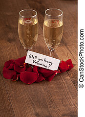 Champagne flute and gift to Valentines day - Let us...