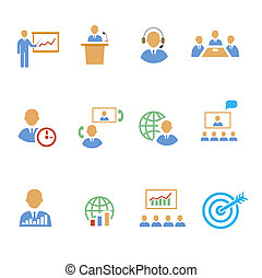 Set of colorful business people strategic icons showing...