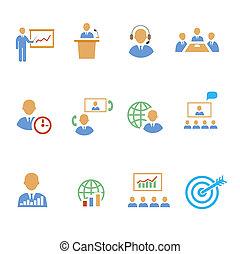 訓練, セット, カラフルである, ビジネス, 人々, 議論, アイコン, 分析, 戦略上である, 世界的である,...