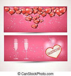 Flyers with glasses and a heart Vector set 3 - set of...