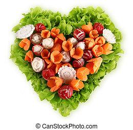 diet concept heart shape salad