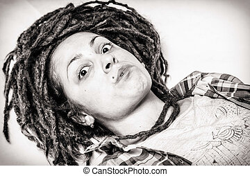 Girl with dreadlocks  - Girl with dreadlocks