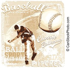 pitching baseball - baseball vector illustration for shirt...