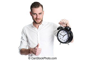 Time is great! - An attractive man wearing a white shirt...