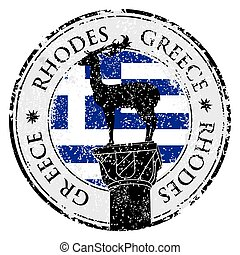 Grunge rubber stamp with the Rhodes Island, Greece written...