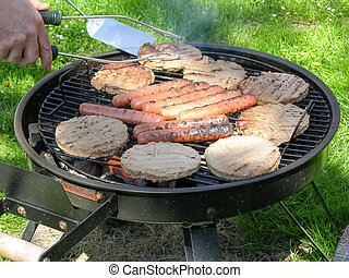 Grilling Meat on an outdoor barbecue grill.