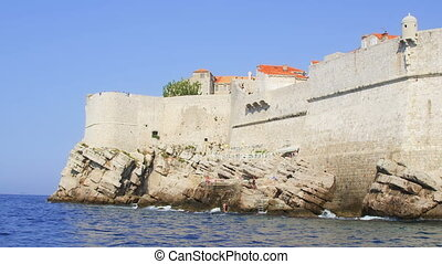 Dubrovnik old town walls detail, Croatia. Shoot form a boat...
