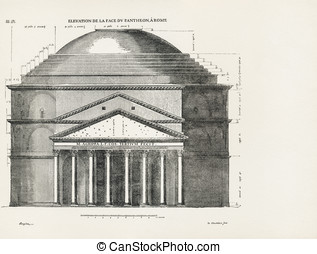 Pantheon in Rome III - Elevation de la face du Pantheon a...