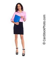 Young business woman isolated white. - Young friendly...