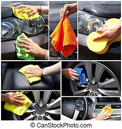 Car polishing. Hand of woman cleaning vehicle
