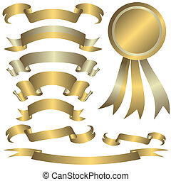 Collection of gold and silver ribbons for celebratory design