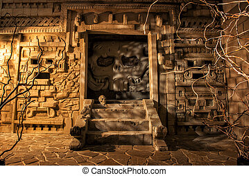 Ancient temple in mystical light - Mystery of Aztec temple....
